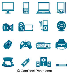 Set of 16 blue computer and media icons.