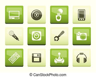 Computer and mobile phone elements icons over green background