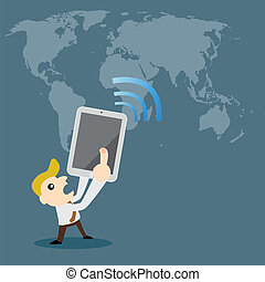computer and networking, cartoon vector