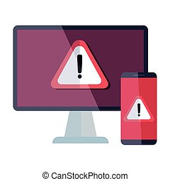 computer and smartphone with warning notification icon ...