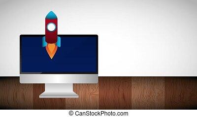 computer and start rocket launch cloud storage animation