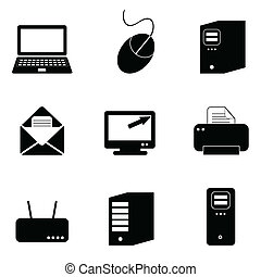 Computer and technology icon set in black