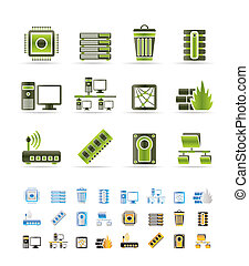 Computer and website icons - vector icon set - 3 colors ...