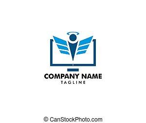 Computer angel logo design