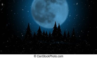Computer animation flying snow on the background of a moon