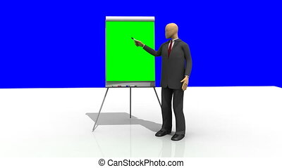 3d-man giving a presentation