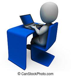 computer, arbeider, optredens, kantoor, het typen
