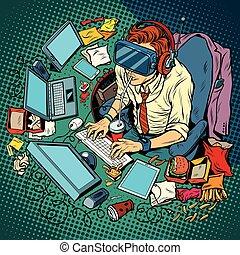 computer, arbeitende , ihm, virtuelle wirklichkeit, geek