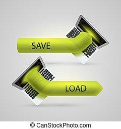 Computer arrow loading and saving