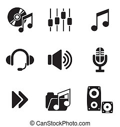computer audio icons - set vector computer icons of audio...