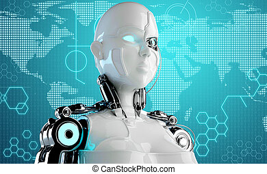 computer background with robot andr