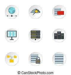 computer, bescherming, iconen, set, plat, stijl