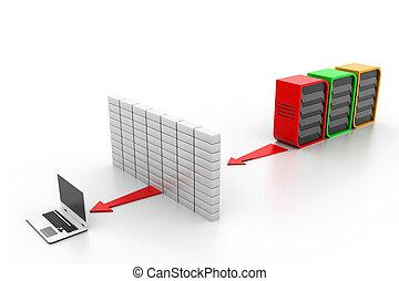 computer, bevestigen, netwerk