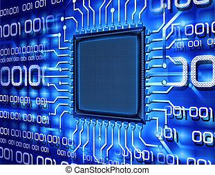 computer, binære, chippen