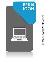 Computer black and blue vector pointer icon on white background in eps 10