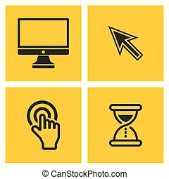 Computer black vector pictograms on yellow