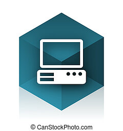 computer blue cube icon, modern design web element