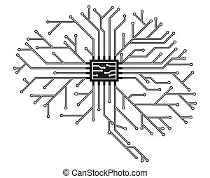 Computer board in the form of a human brain in black with a processor. Abstract illustration of scientific technology. Isolated on white background. Flat style. Graphic concept for your design. Vector
