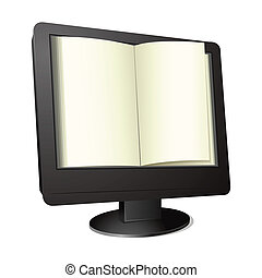 Computer Book - illustration of open book on computer screen
