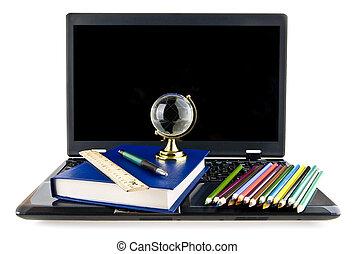 computer, books, pencils and a globe