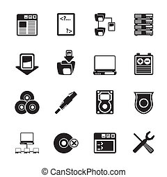 computer, bovenkant, kelner, iconen