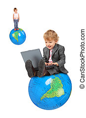 computer boy on big inflatable globe and little girl on globe collage