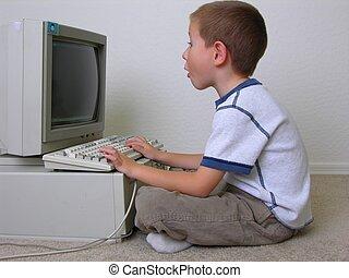Computer Boy - Surprised boy at computer