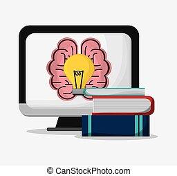 Computer brain bulb and books design