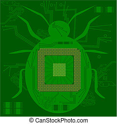 Computer bug - Concept illustration of a bug shape in a...