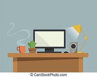 computer, bureau