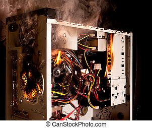 Computer burning - Inside of a desktop computer burning on...