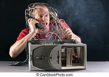 computer, burning, man