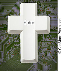 Computer button - Christian cross - Enter