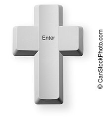 Computer button Enter - Christian cross