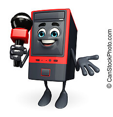 Computer Cabinet Character with mike - Cartoon Character of...