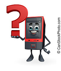 Computer Cabinet Character with question mark