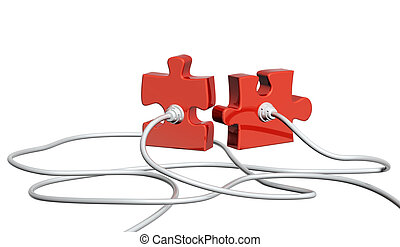Computer cable and part of puzzle