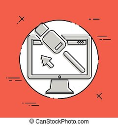 Computer cable usb - Flat minimal icon
