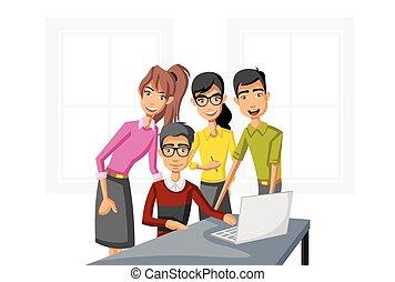 computer., cartoon, arbejder, folk branche