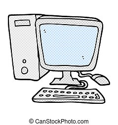 computer, cartoon, desktop