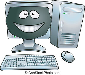 computer, cartoon, illustration