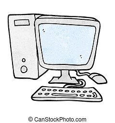computer, cartoon, struktureret, desktop