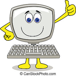 Computer cartoon - Vector illustration of funny computer...
