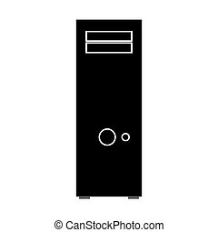 Computer case or system unit black color icon .
