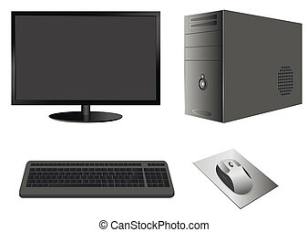Computer Case with Monitor, Keyboard and Mouse