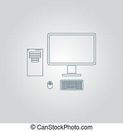 computer, caso, con, monitor, tastiera, e, topo, vettore, icon.