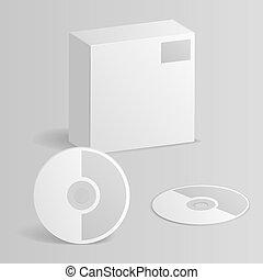 Computer CD Disc Paper Box 3d mockup template vector illustration