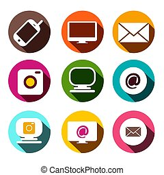Computer, Cellphone Camera, At - Email and Camera Icons. Vector Flat Design Technology Items App Symbols Set in Colorful Circles.