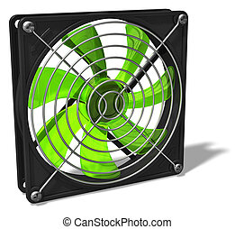 Computer chassis and CPU cooler fan - 3D render illustration...
