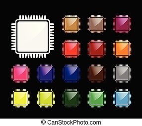 Computer chip icon set